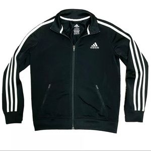 Adidas Boys Classic Black 3 Stripe Full Zip Up